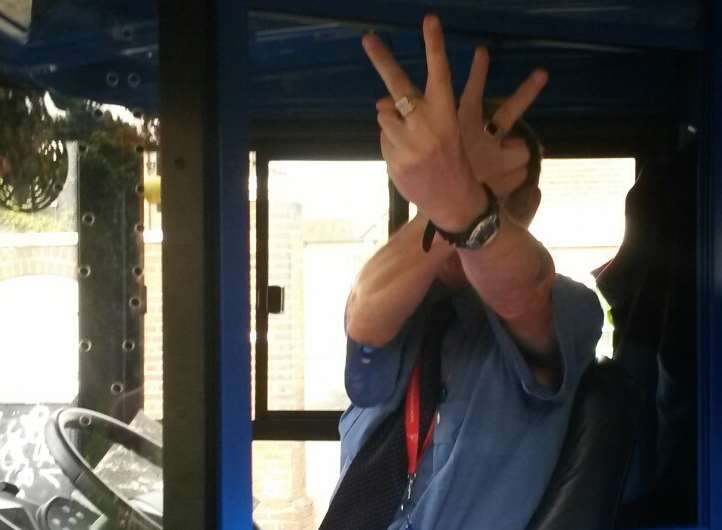 The Stagecoach bus driver is said to have made rude hand signals