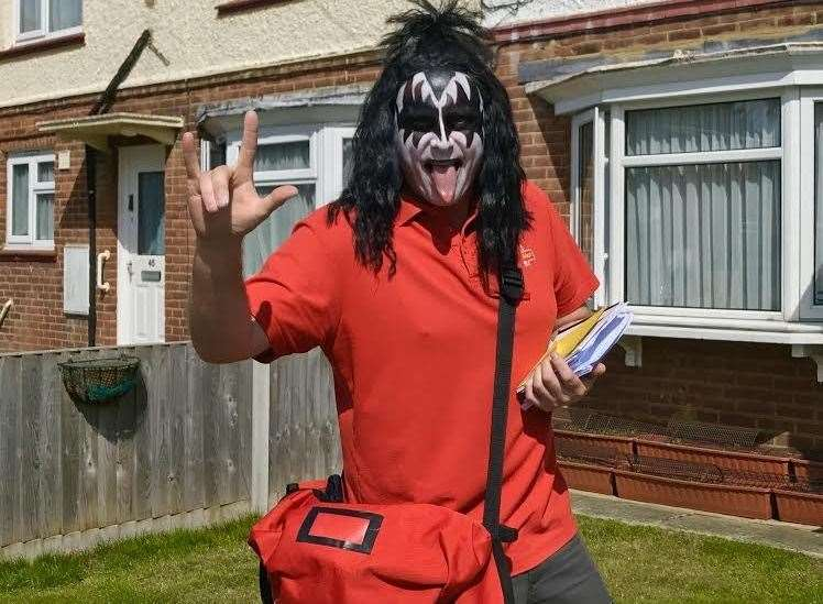 Sheppey postman Gary Underdown has been impersonating Gene Simmons from KISS to cheer people up on his rounds