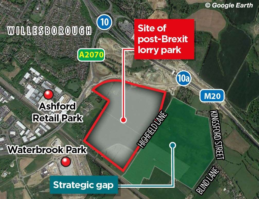 A campaign has been launched to create a 'strategic gap' next to the lorry park