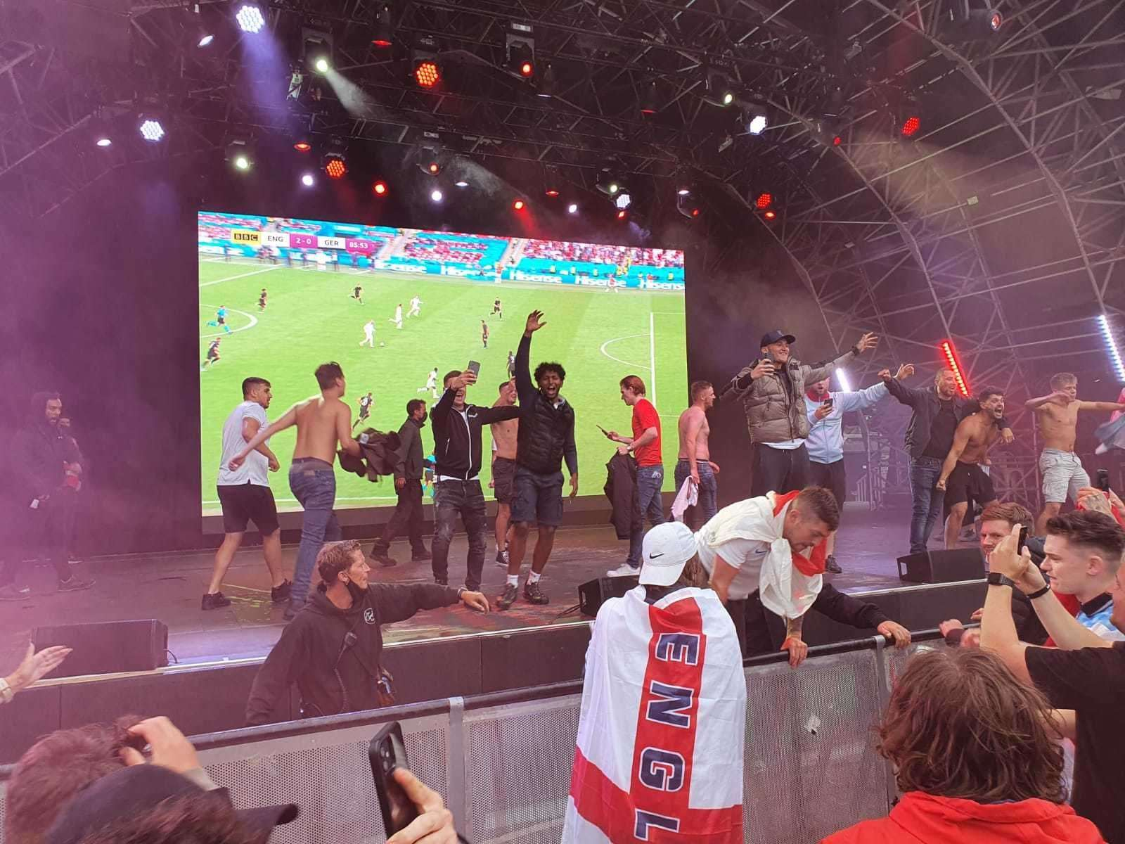 Fans on stage at Dreamland after the England v Germany game