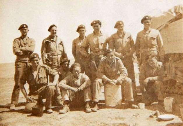 Edward, on the left with arms folded, with comrades of the Royal Tank Regiment, Egypt 1942