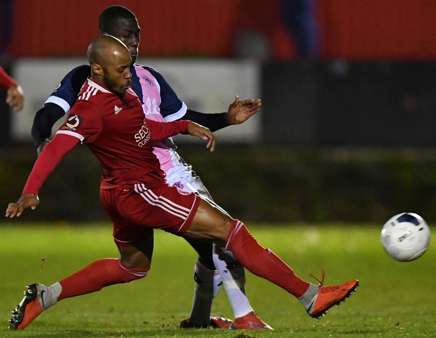 Welling's Sanchez Ming gets to the ball first against Dulwich. Picture: Keith Gillard