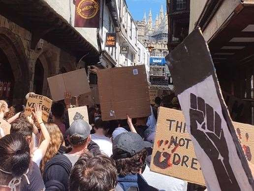 Black Lives Matter protestors in Canterbury Picture: Toby Killeen