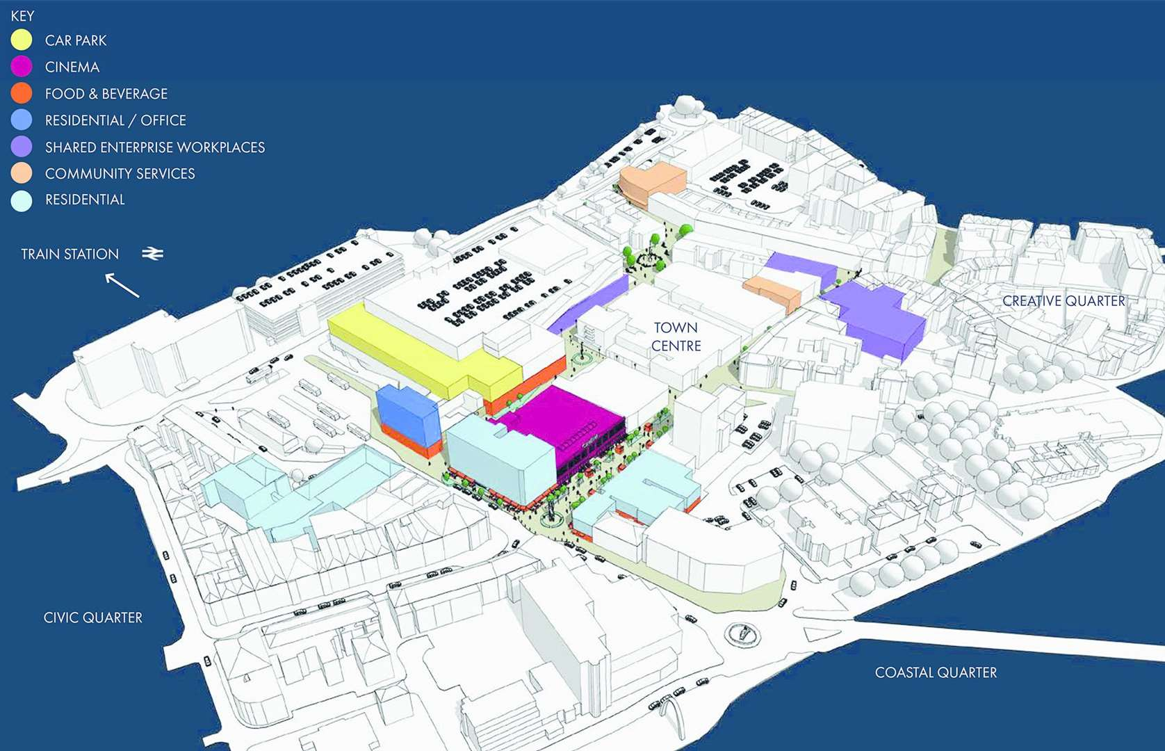 The new town centre plans for Folkestone, including a cinema on the Debenhams site. Credit: Turnerbates Ltd (9217003)