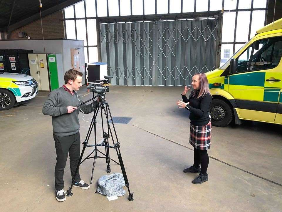 Behind the scenes at Sittingbourne ambulance station for Come Sign With Me with presenter Becki Breiner and KMTV producer Cameron Tucker (14849905)