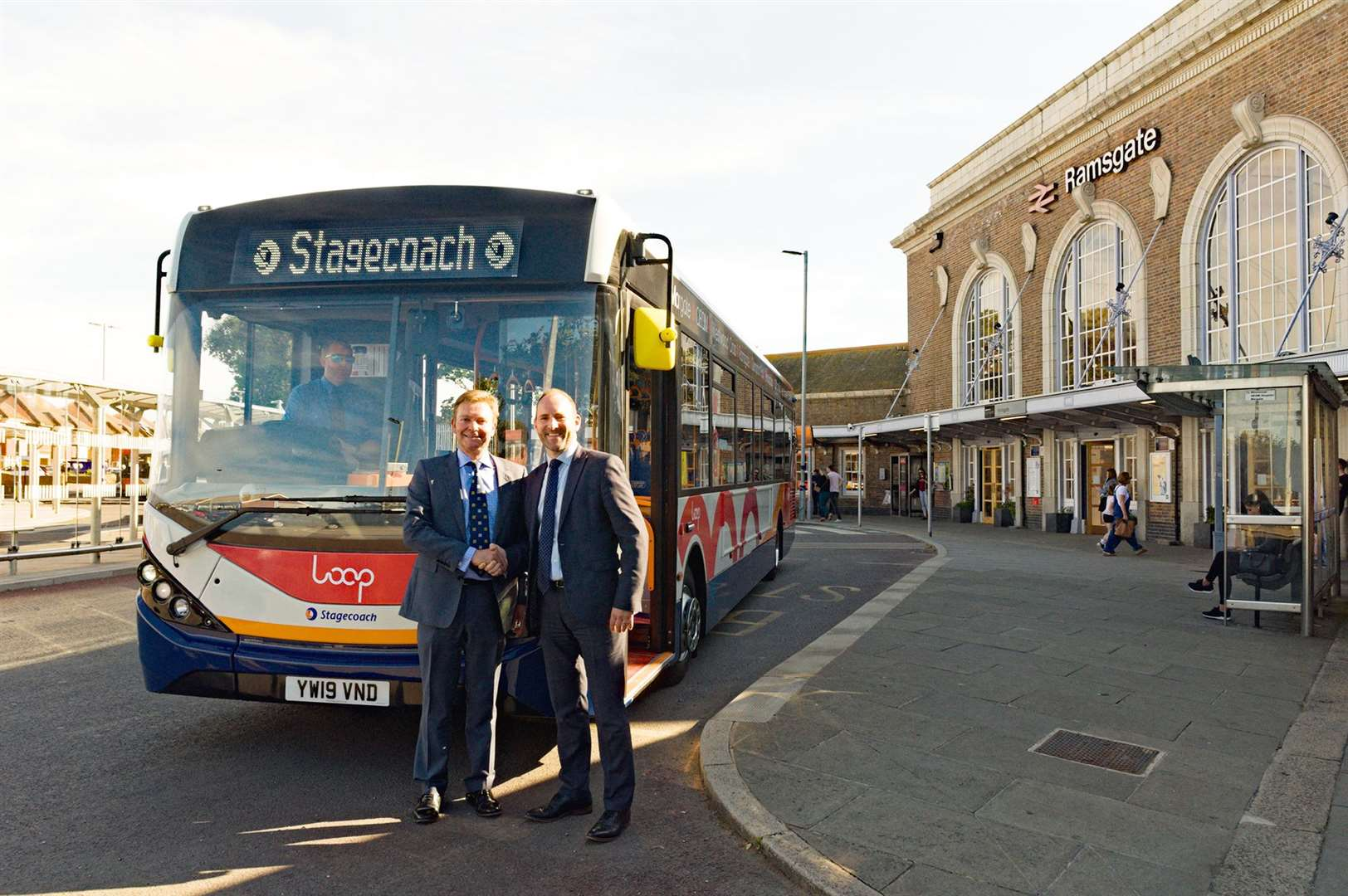 Stagecoach South East managing director Joel Mitchell, right, with South Thanet MP Craig Mackinlay in front of one of 24 brand new biodiesel Loop buses for Thanet (12550624)