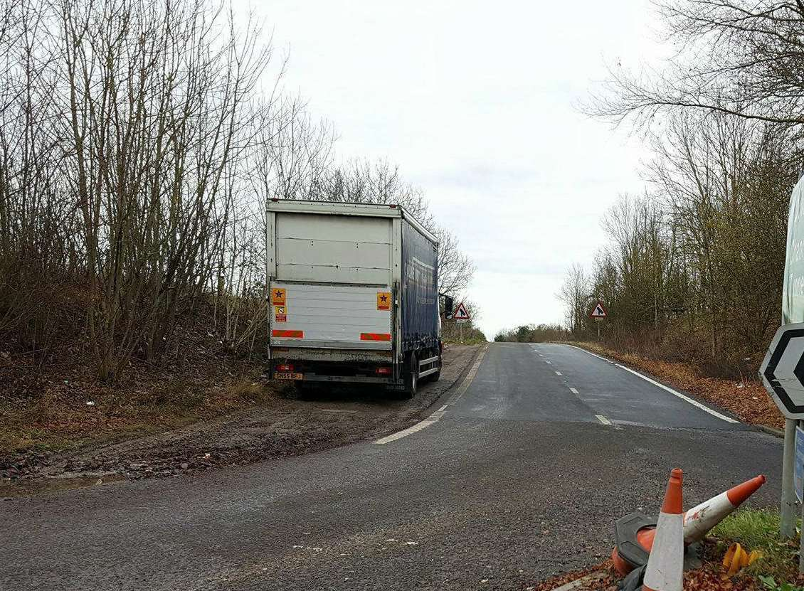 Lorries parked next to the A2 slip-road