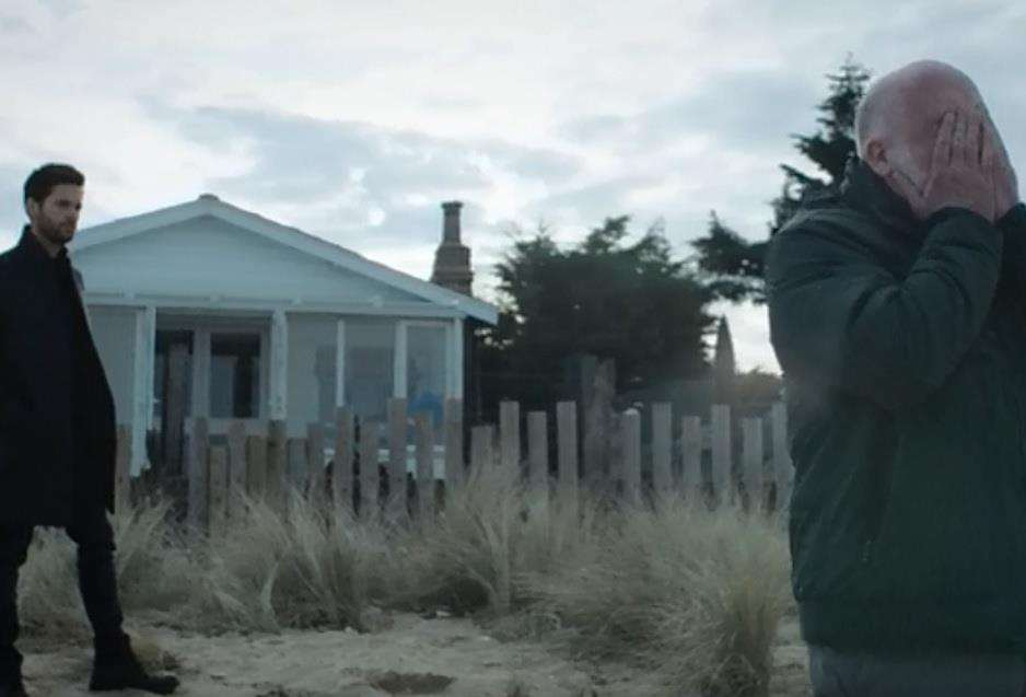 Tom Riley as DI Will 'Staffe' Wagstaffe (leff) on the beach in front of the Rev Jeanette McLaren's Sheppey home in the ITV thriller Dark Heart. Picture: ITV (5591715)