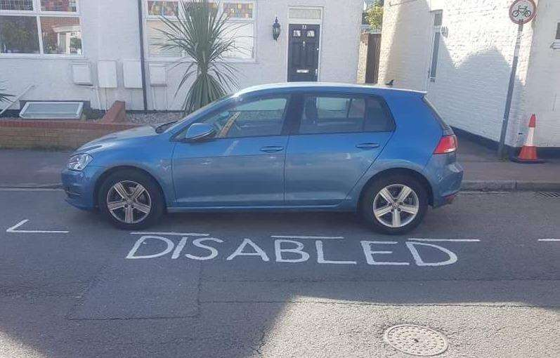 Claire Baker's car parked in her new disabled bay, which was marked out earlier this month