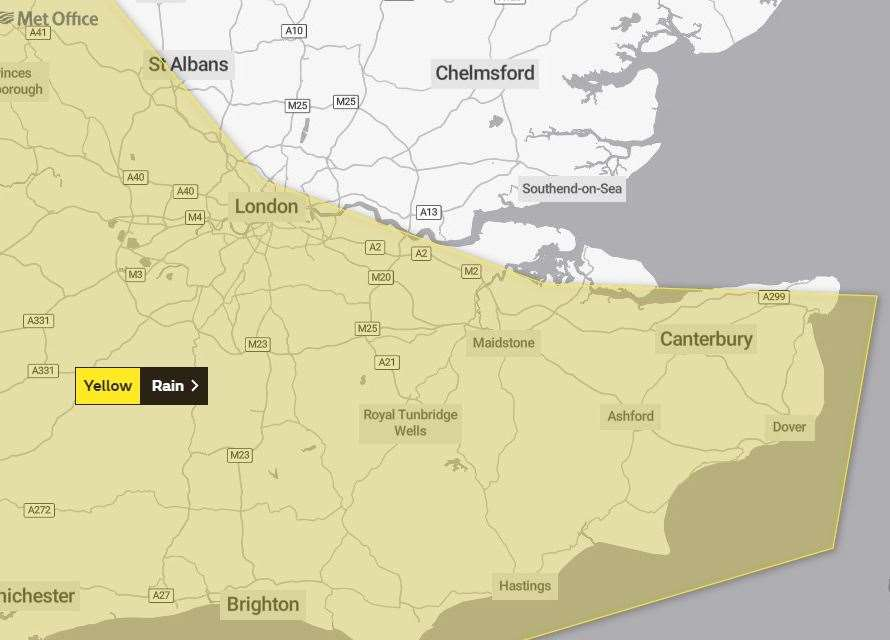 The Met Office has issued a yellow weather warning for Kent
