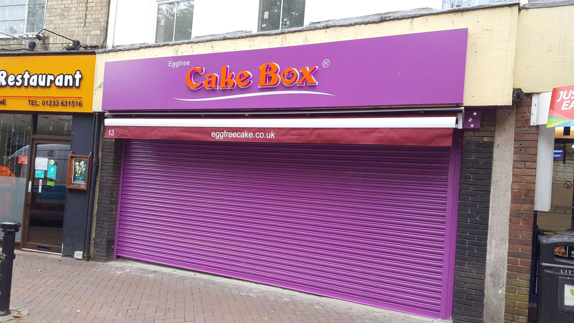 Eggfree Cake Box in Ashford town centre