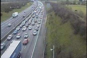 Queuing traffic on the anti-clockwise M25 on the approach to the Dartford Tunnel