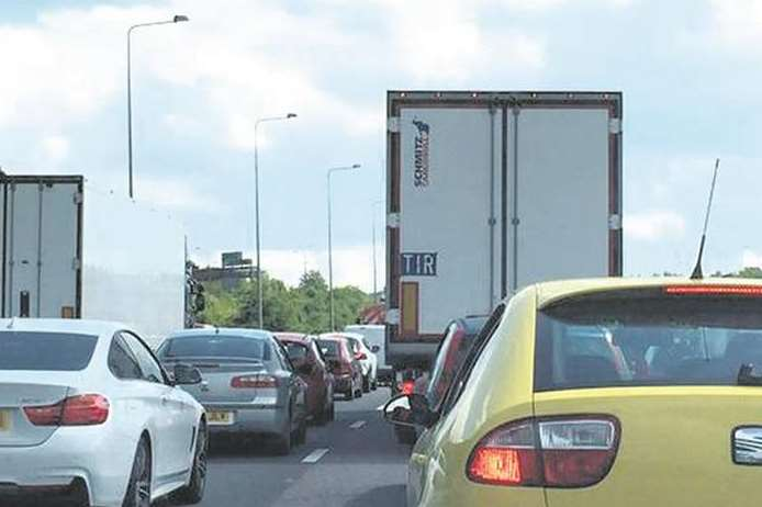 Traffic is queuing at the M2 coastbound between A229 and A278