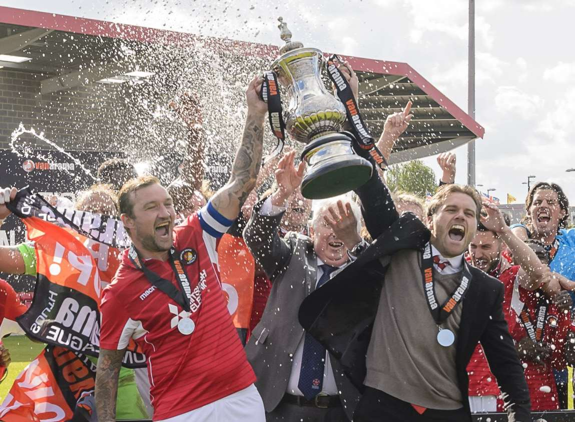 Ebbsfleet celebrate promotion to the National League Picture: Andy Payton