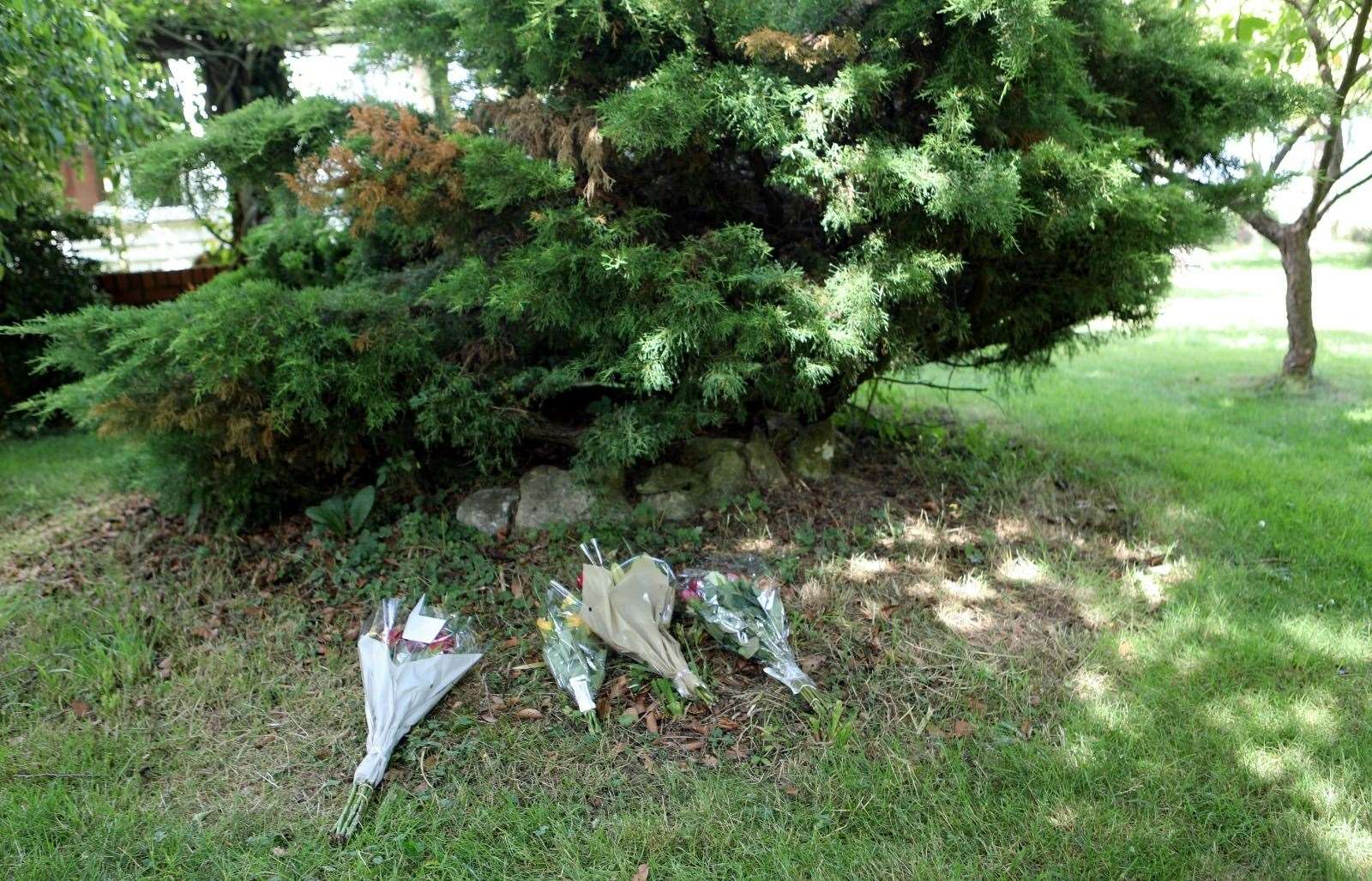Tributes left at the scene of the crash in Mundy Bois Road, Egerton. Picture: UKNiP