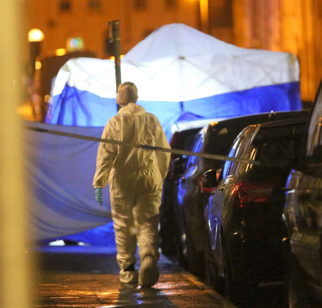 The scene of the murder on Friday, December 20 in Fox Street, Gillingham. Picture: UKNIP