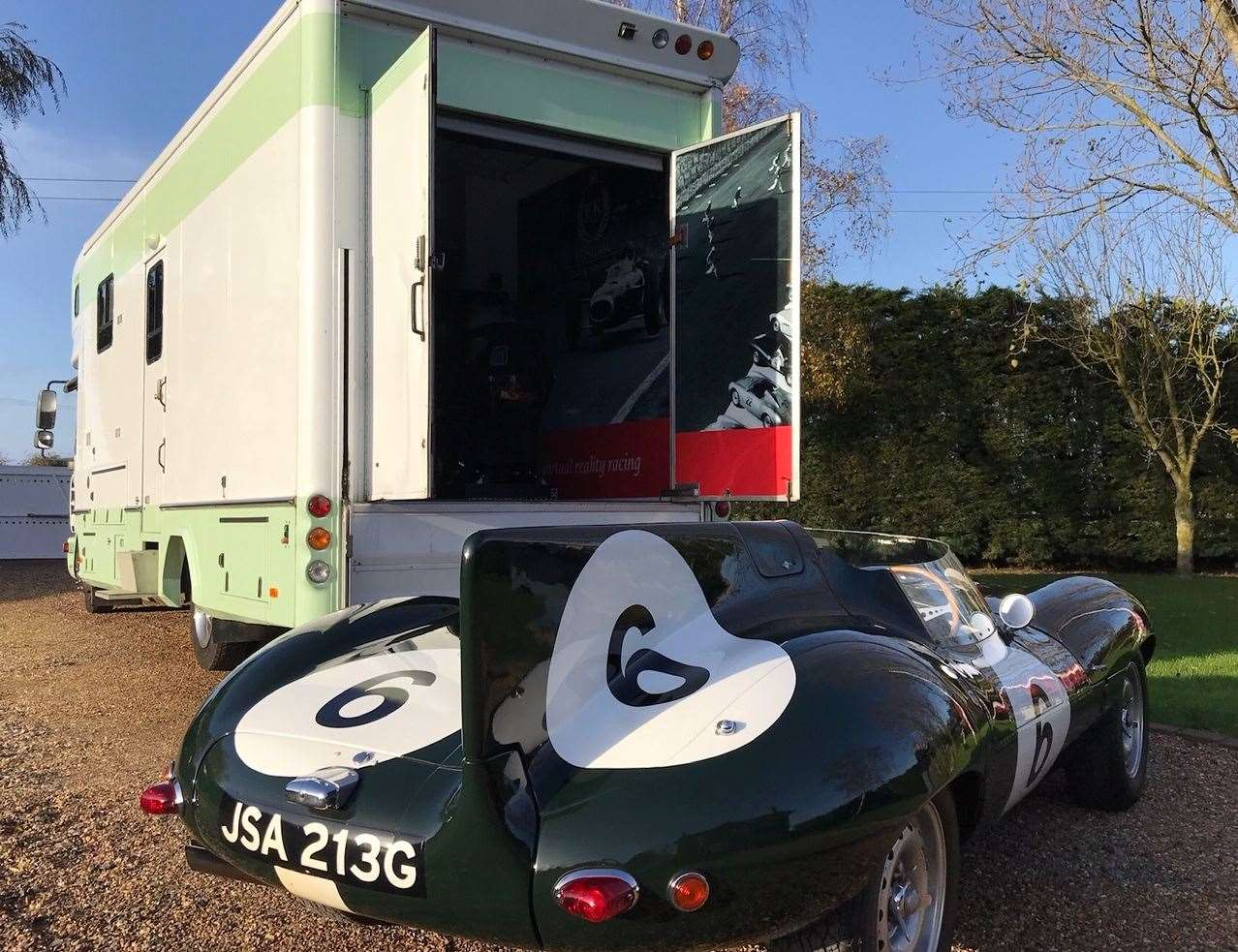 "The motorhome has been fitted out with a racing simulator to offer car enthusiasts a ""one-of-a-kind experience"""