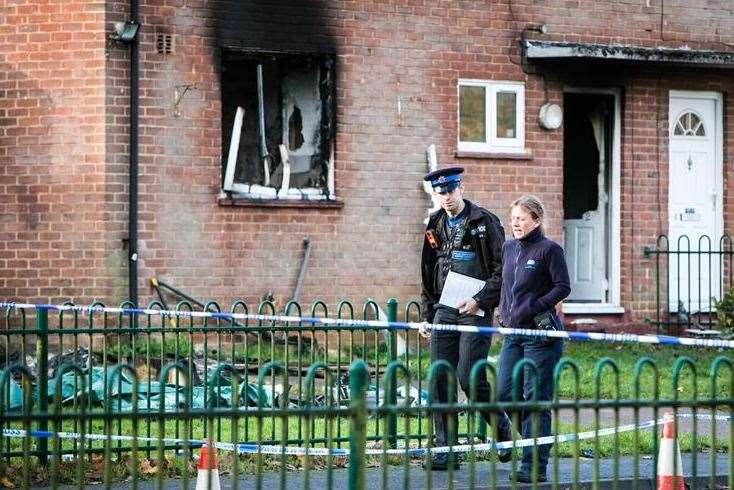 The scene of the house fire in Spitfire Road, West Malling, where Jackie Allen died. Picture: Matthew Walker