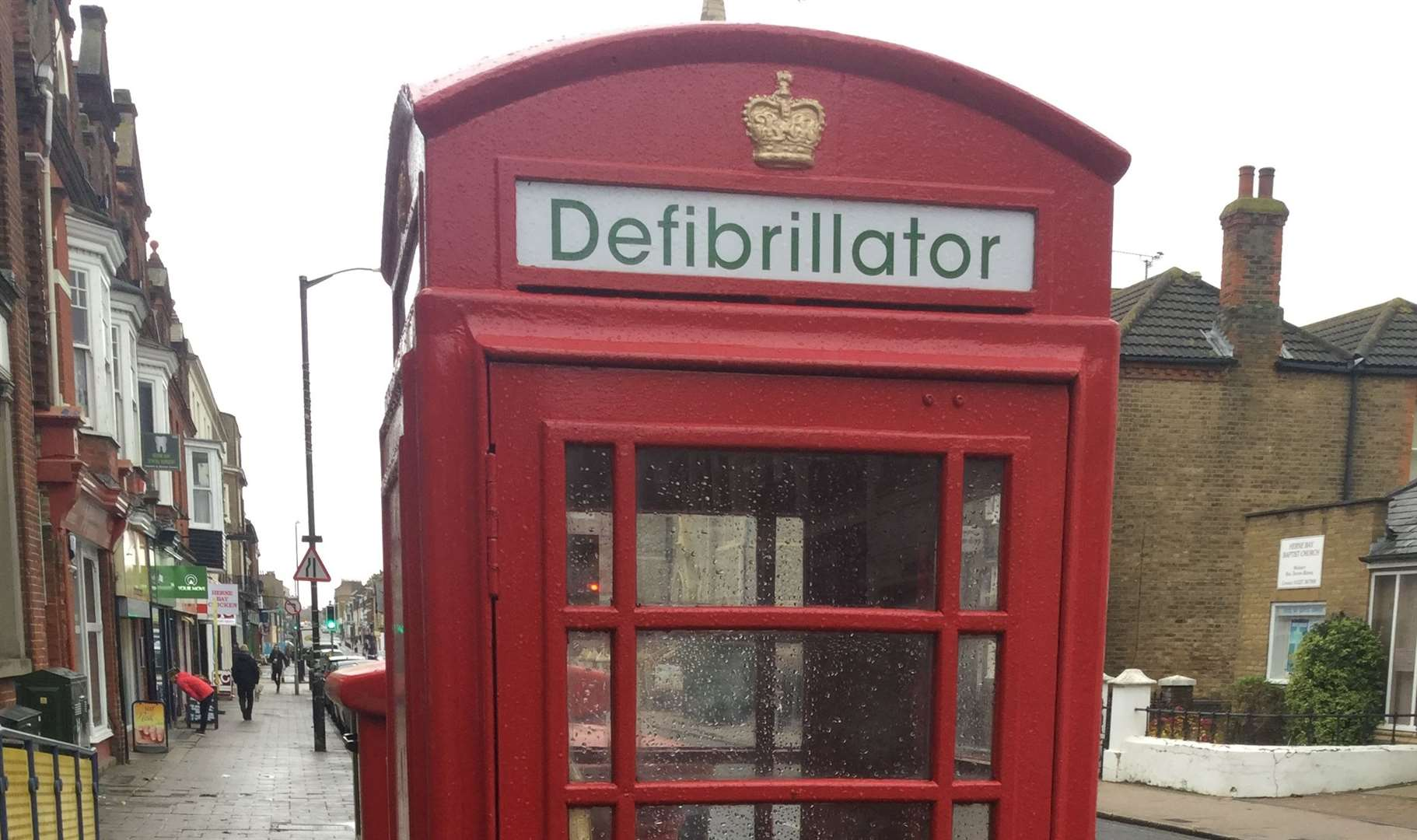 The defibrillator station is in a former telephone box in Herne Bay High Street (9858822)