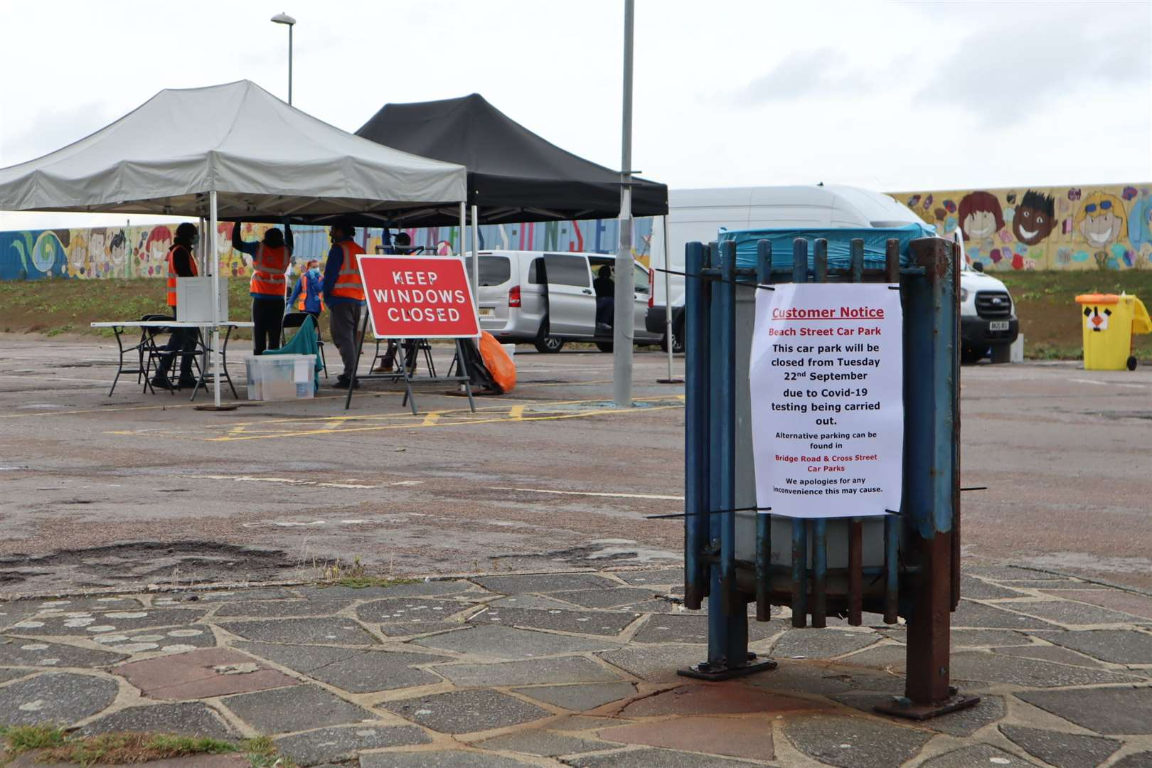 Temporary coronavirus testing station in Beach Street, Sheerness. Picture: John Nurden