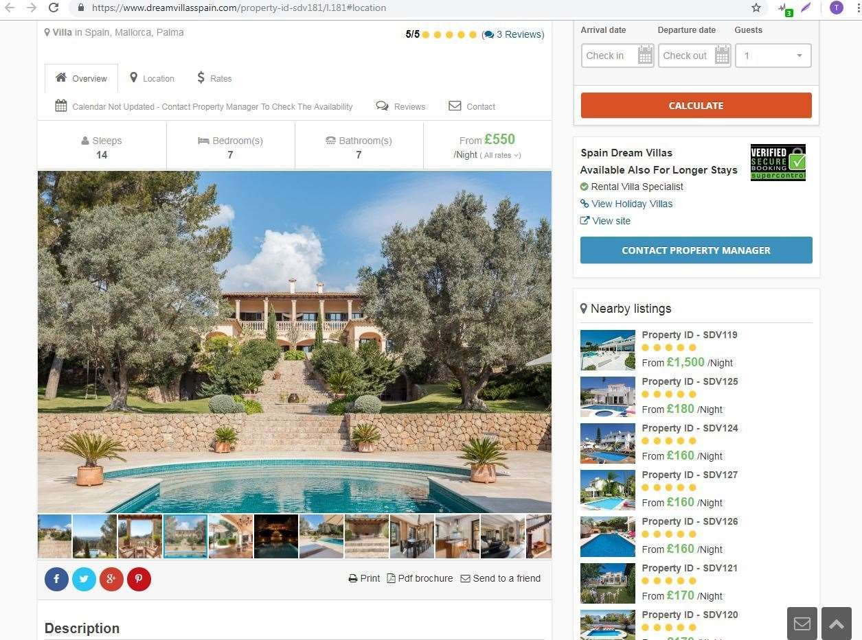 The villa where the Kennedy family thought they'd be staying, as listed on the dreamvillasspain.com website (8764573)