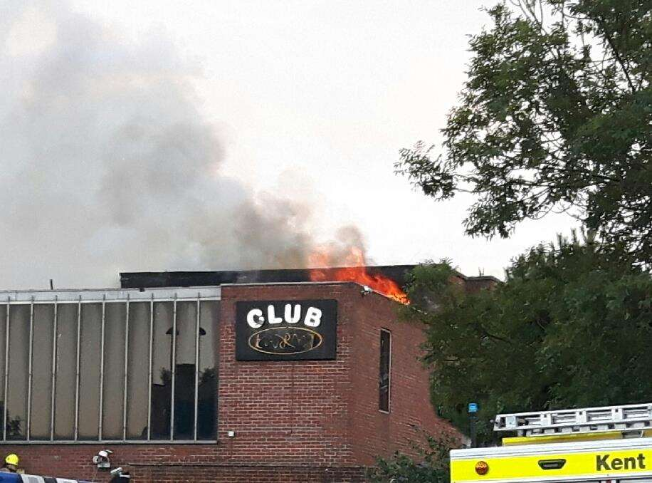 The former Club Karma with flames through its roof.. Picture: Sam Lennon