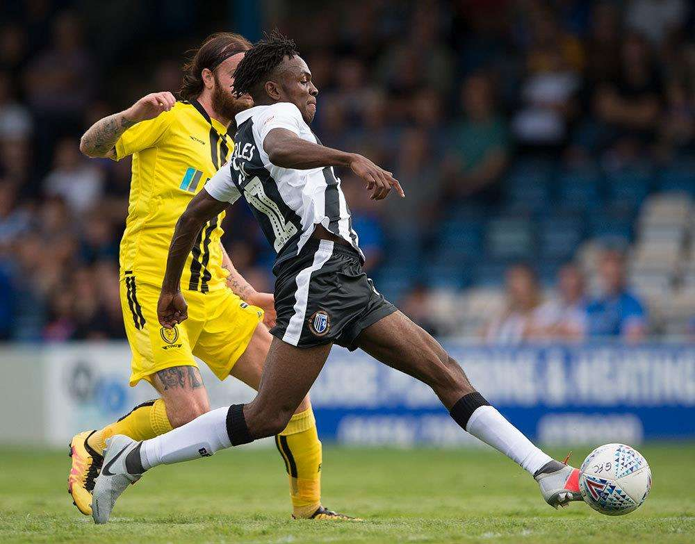 Gillingham in action against Burton Albion, Regan Charles-Cook on the ball. Picture: Ady Kerry