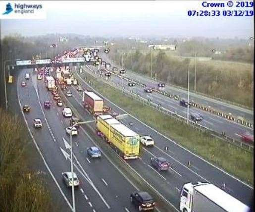Traffic queuing on the London-bound M20 due to a breakdown. Picture: Highways England