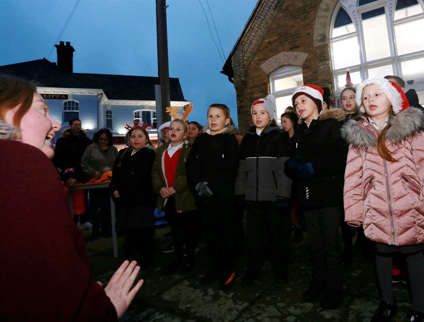 Pupils from Queenborough Primary School and Nursery sang carols at the Queenborough annual Christmas lantern parade on Sunday. Picture: Phil Lee