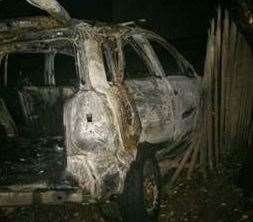 The burnt out car. Picture: Kent Police
