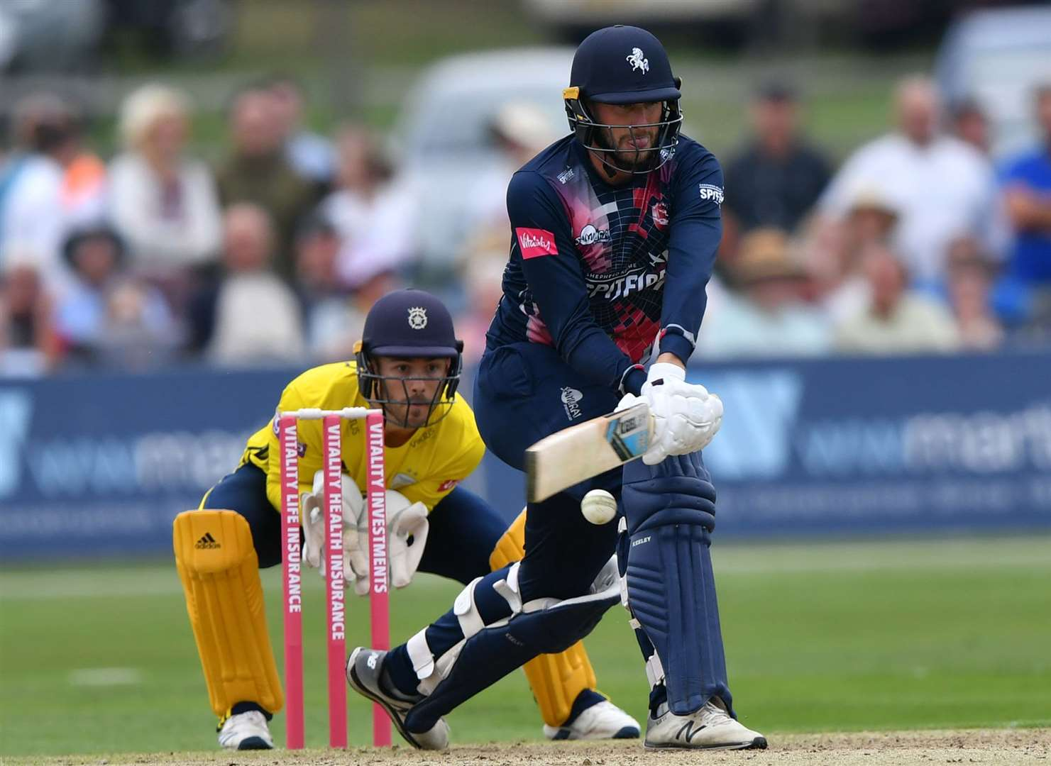 Alex Blake improvises against Hampshire in this year's T20 Blast. Picture: Keith Gillard
