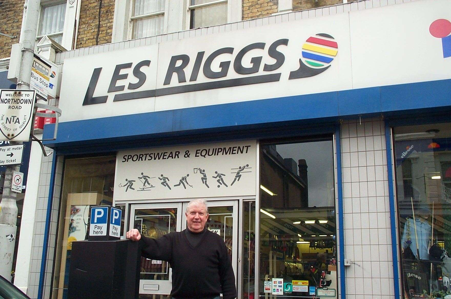 Businessman Les Riggs outside the sports shop in Cliftonville that still bears his name