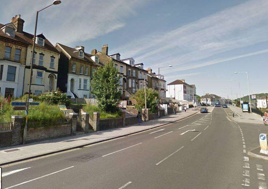 The driver and cyclist first clashed in Folkestone Road, Dover. Picture: Google Street View