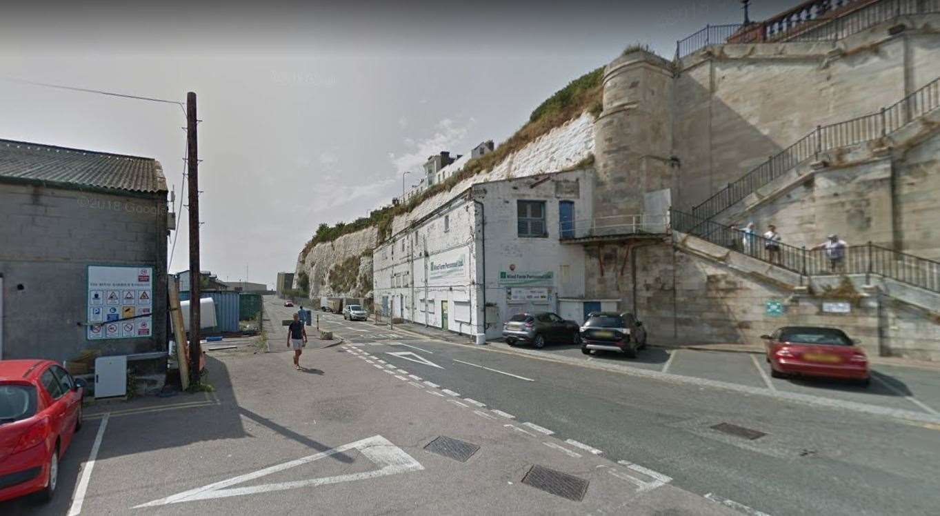 A burst pipe has also forced Military Road in Ramsgate to be shut. Picture: Google