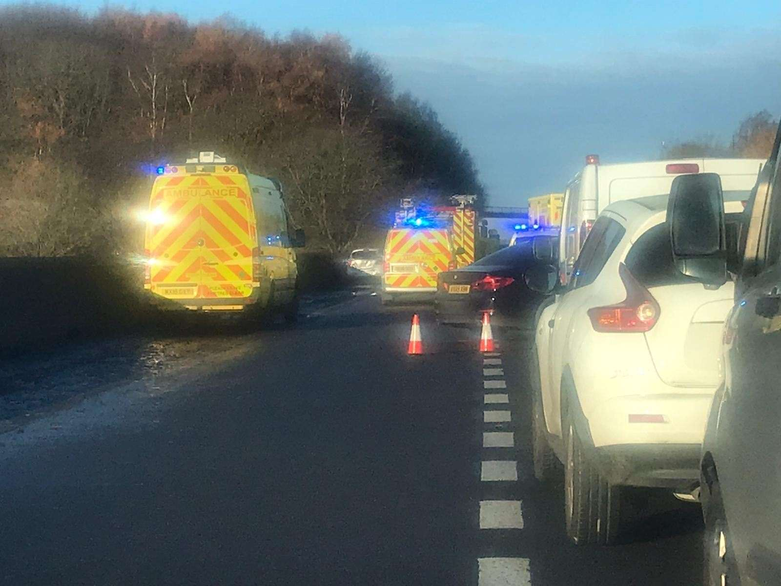 Emergency services at the scene of the four-car crash