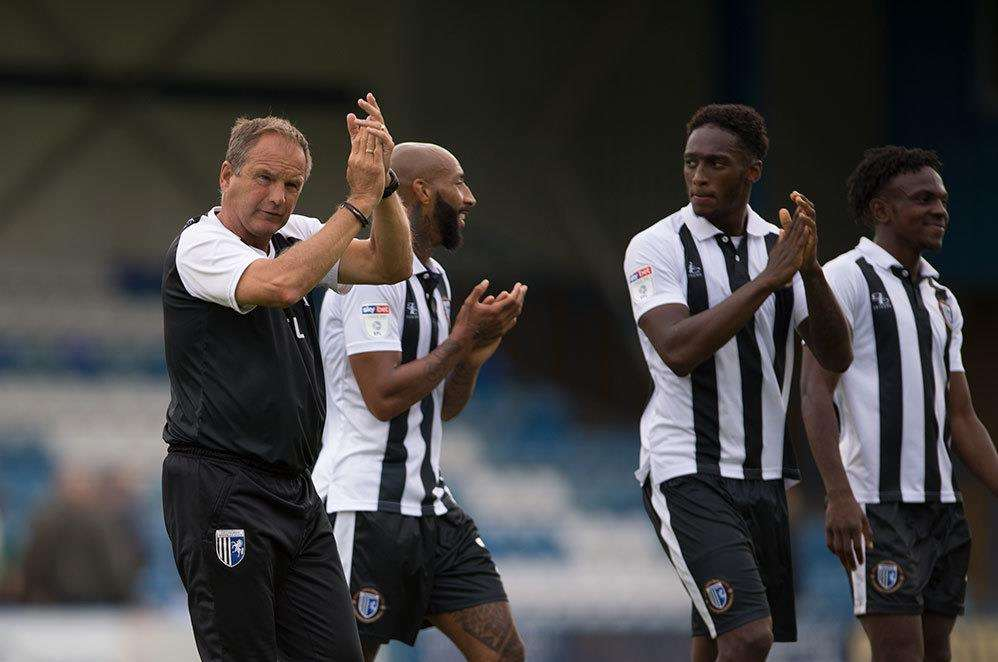 Gillingham boss Steve Lovell thanks the fans after the 3-1 win over Burton Albion Picture: Ady Kerry