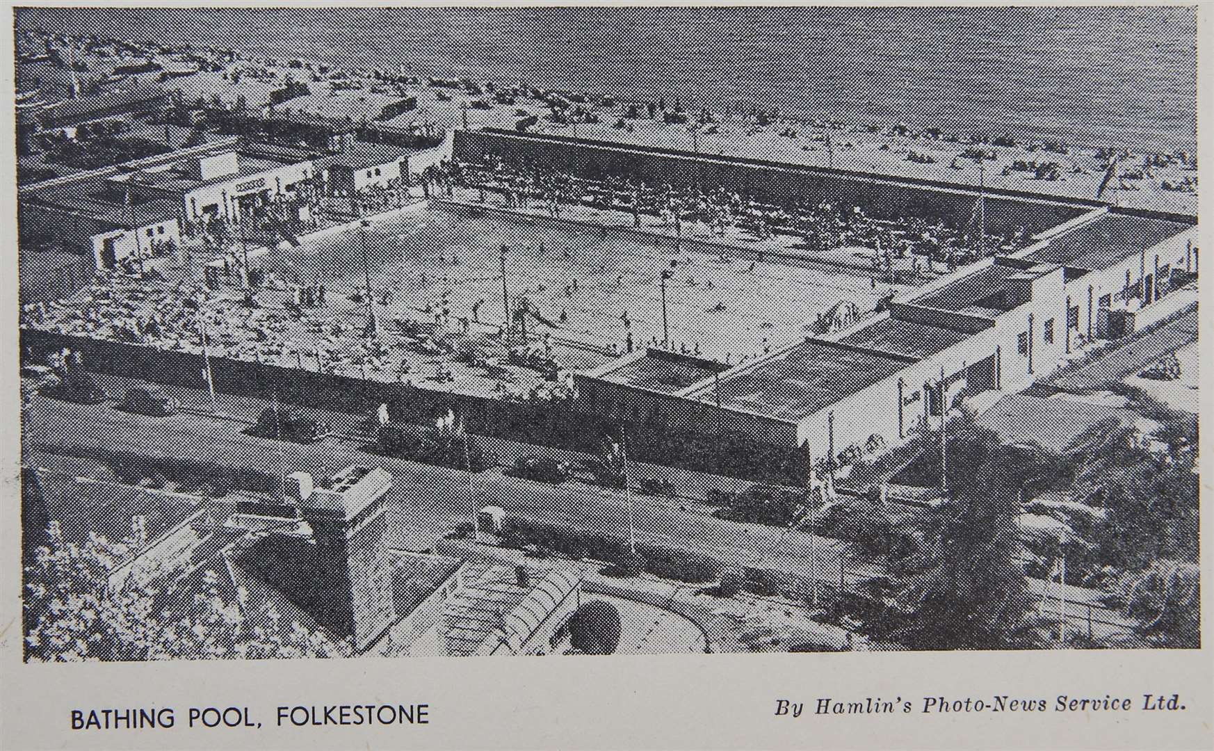 The bathing pool in Folkestone, a postcard from Shaun Allon's collection
