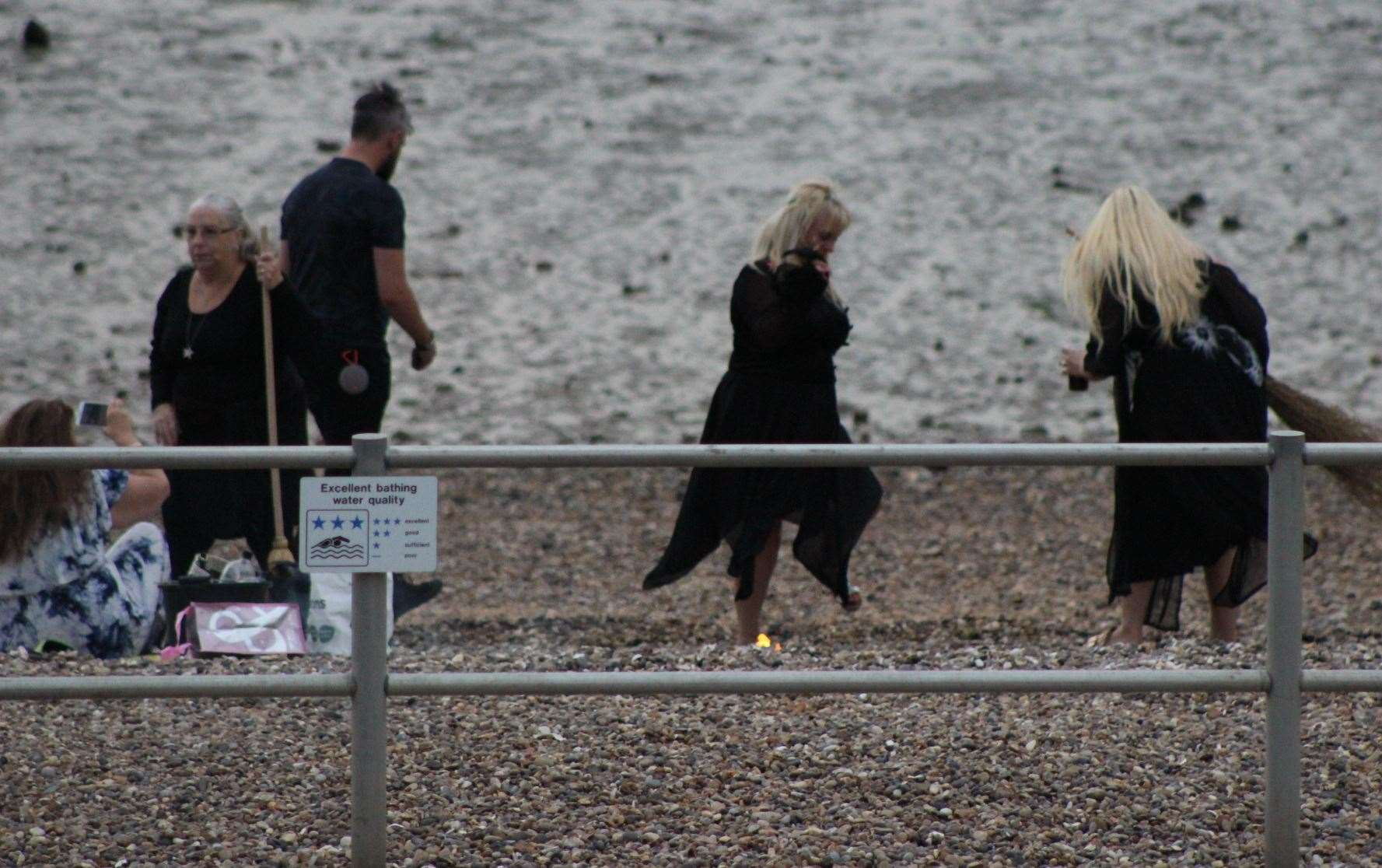 The witches of Sheppey on the beach at Minster celebrating Lammas