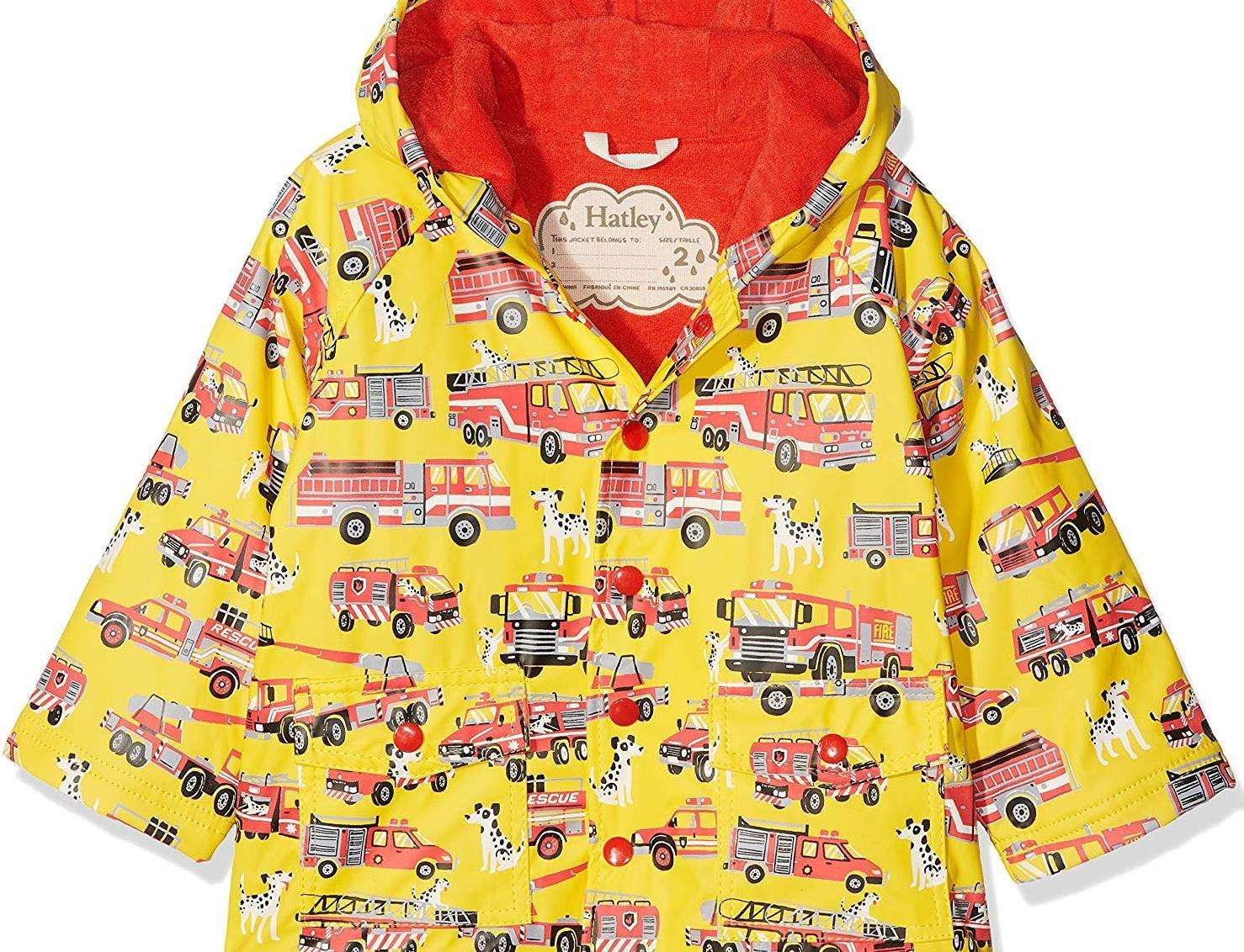 A Hatley Boy's printed rain jacket is on sale at a cut price on Amazon