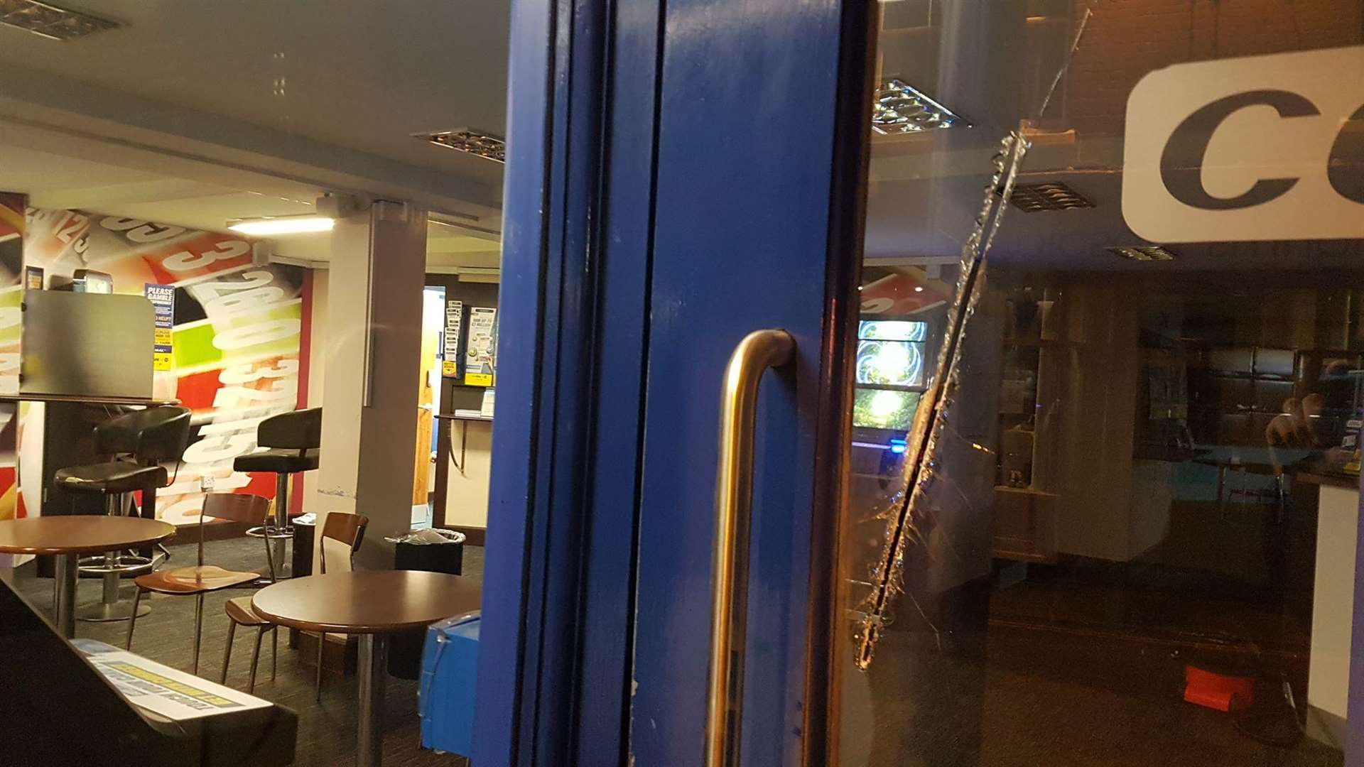 Damage caused to the window of the Coral bookmakers (4332844)