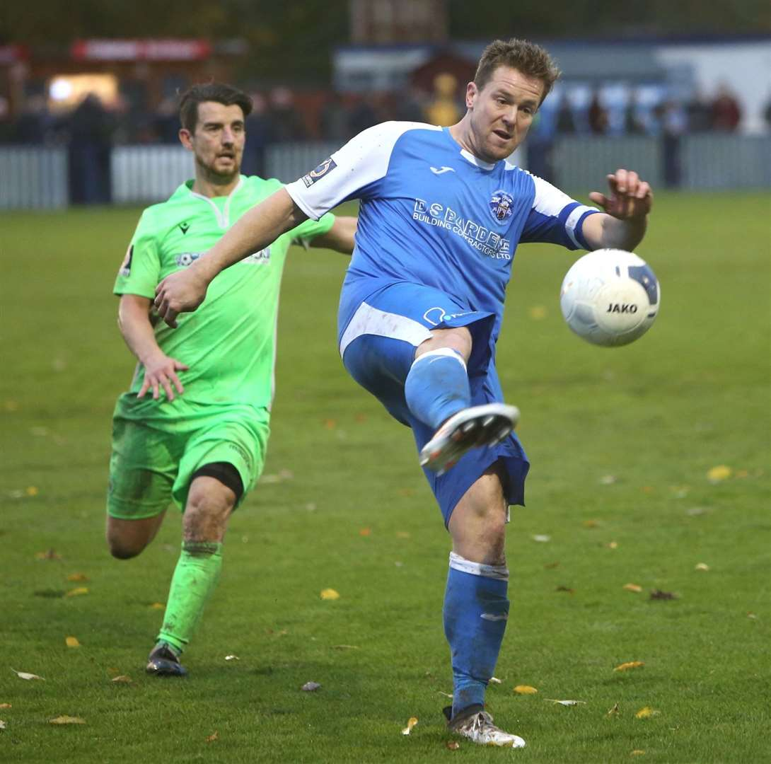 Sonny Miles in action for Tonbridge during the 4-4 draw with Oxford City Picture: David Couldridge