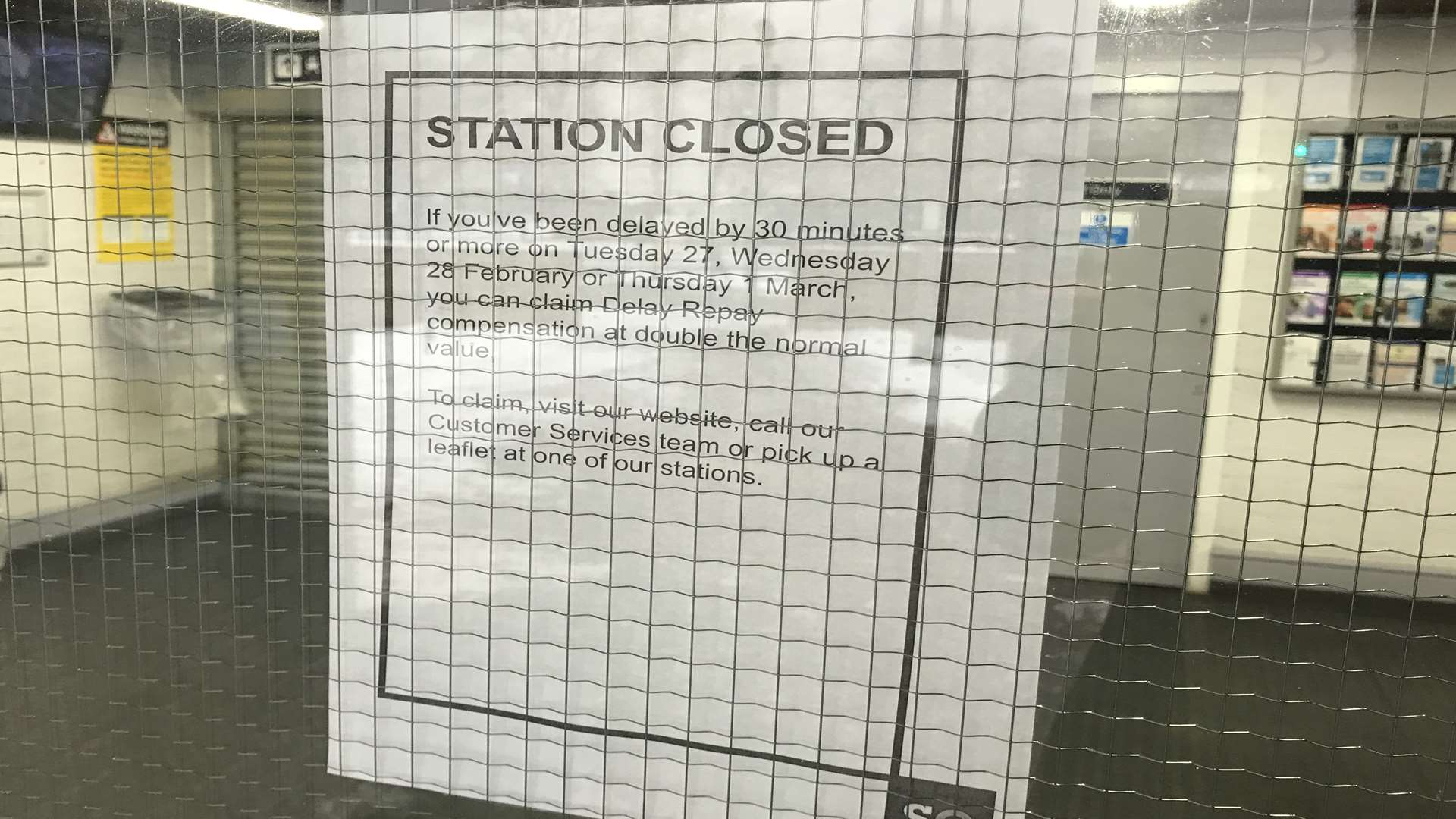 This is the 'station closed' sign that greeted commuters in Sheerness