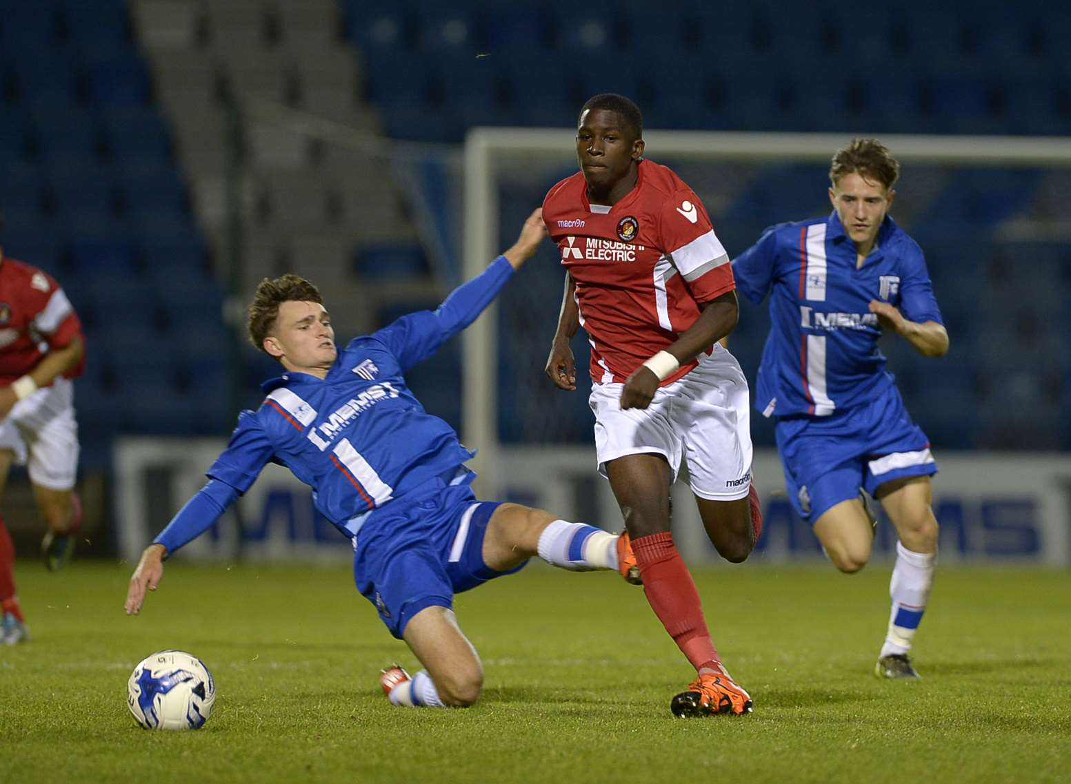 Shilow Tracey on the ball during Ebbsfleet's FA Youth Cup win at Gillingham Picture: Barry Goodwin