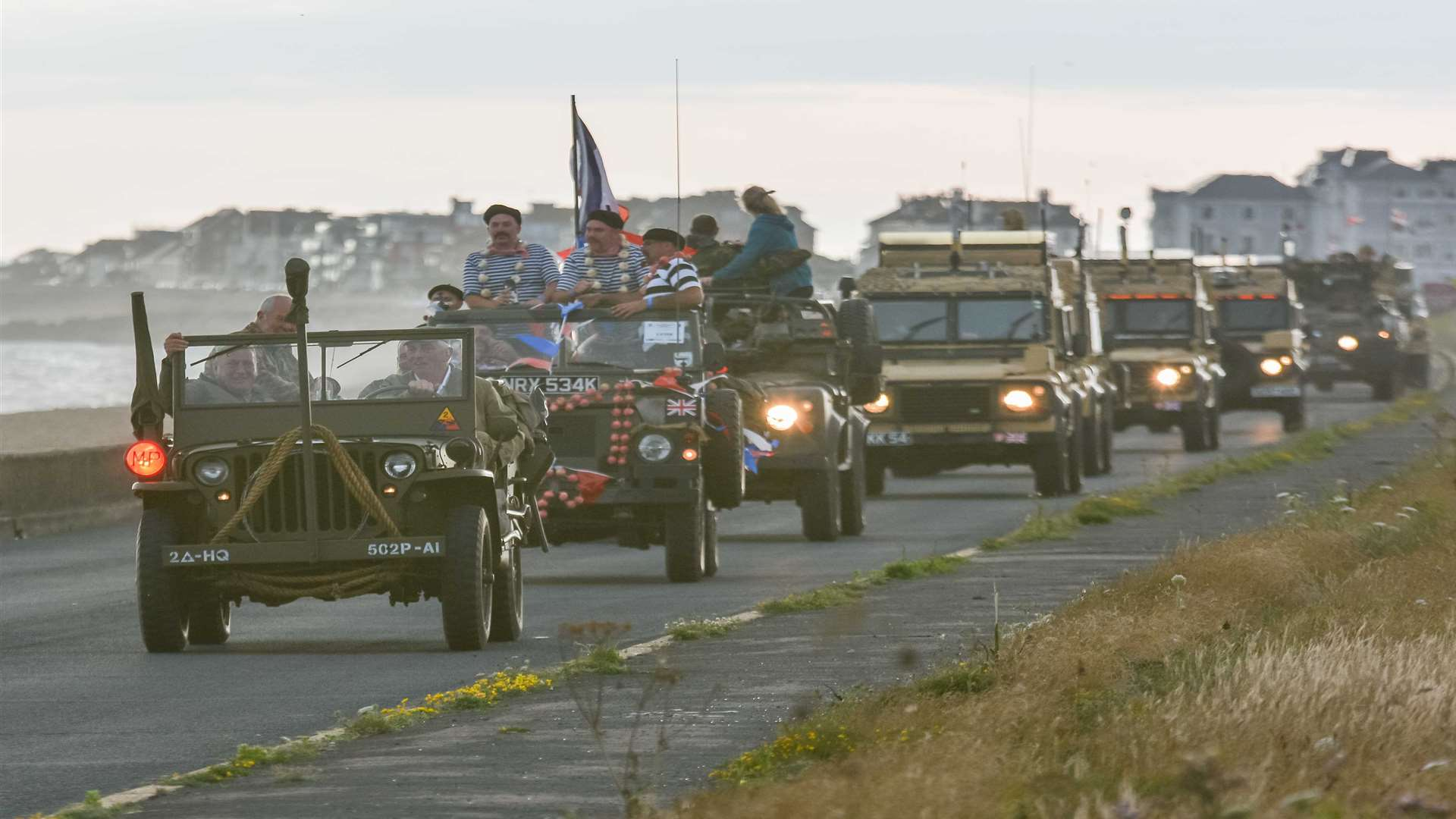 Vehicles on their way to the War and Peace Revival