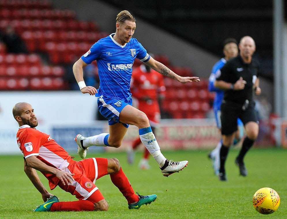 Gillingham midfielder Lee Martin on the ball Picture: Ady Kerry