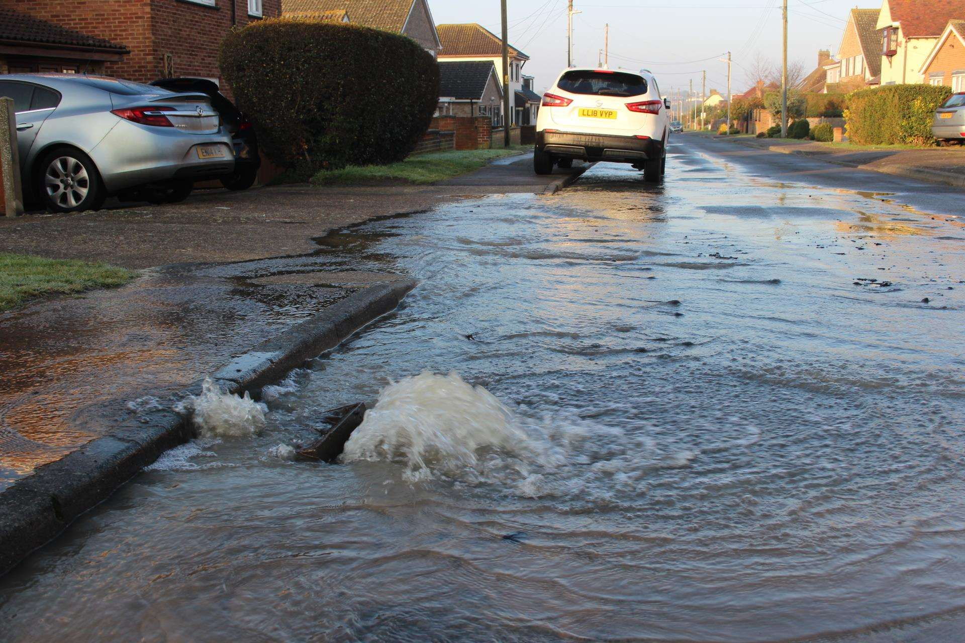 Burst water mains flooded roads in Minster, Sheppey, this morning (7388700)