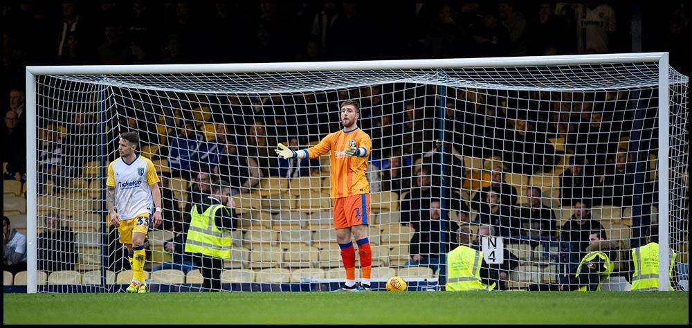 Gillingham keeper Tomas Holy concedes in the first half Picture: Ady Kerry (6275691)