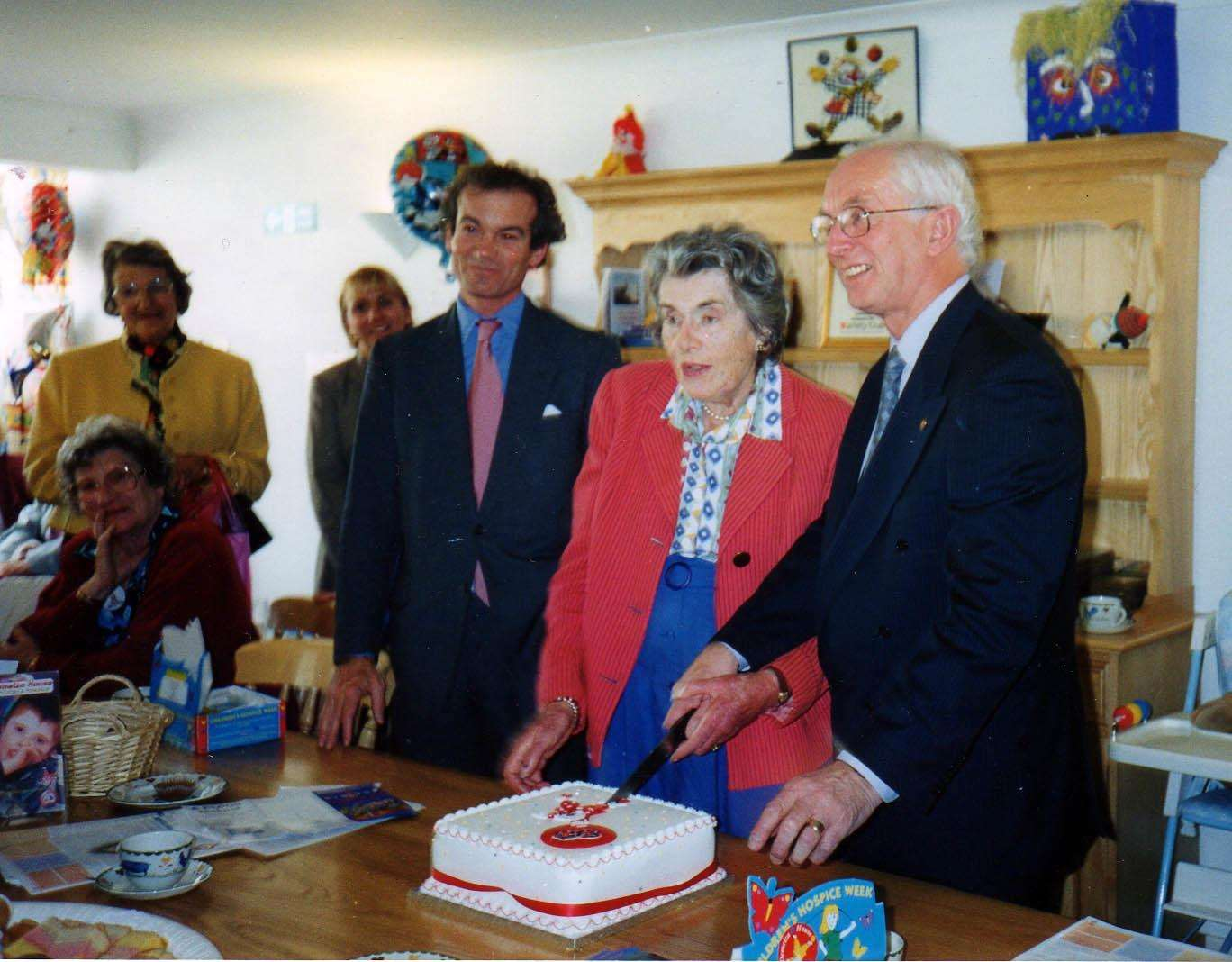 From left, Demelza vice president Richard Oldfield, the late Patricia Knatchbull, 2nd Countess Mountbatten of Burma, and Demelza's father Derek Phillips