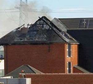 The fire ripped through the roof of the property in Ebbsfleet after a solar panel caught alight.