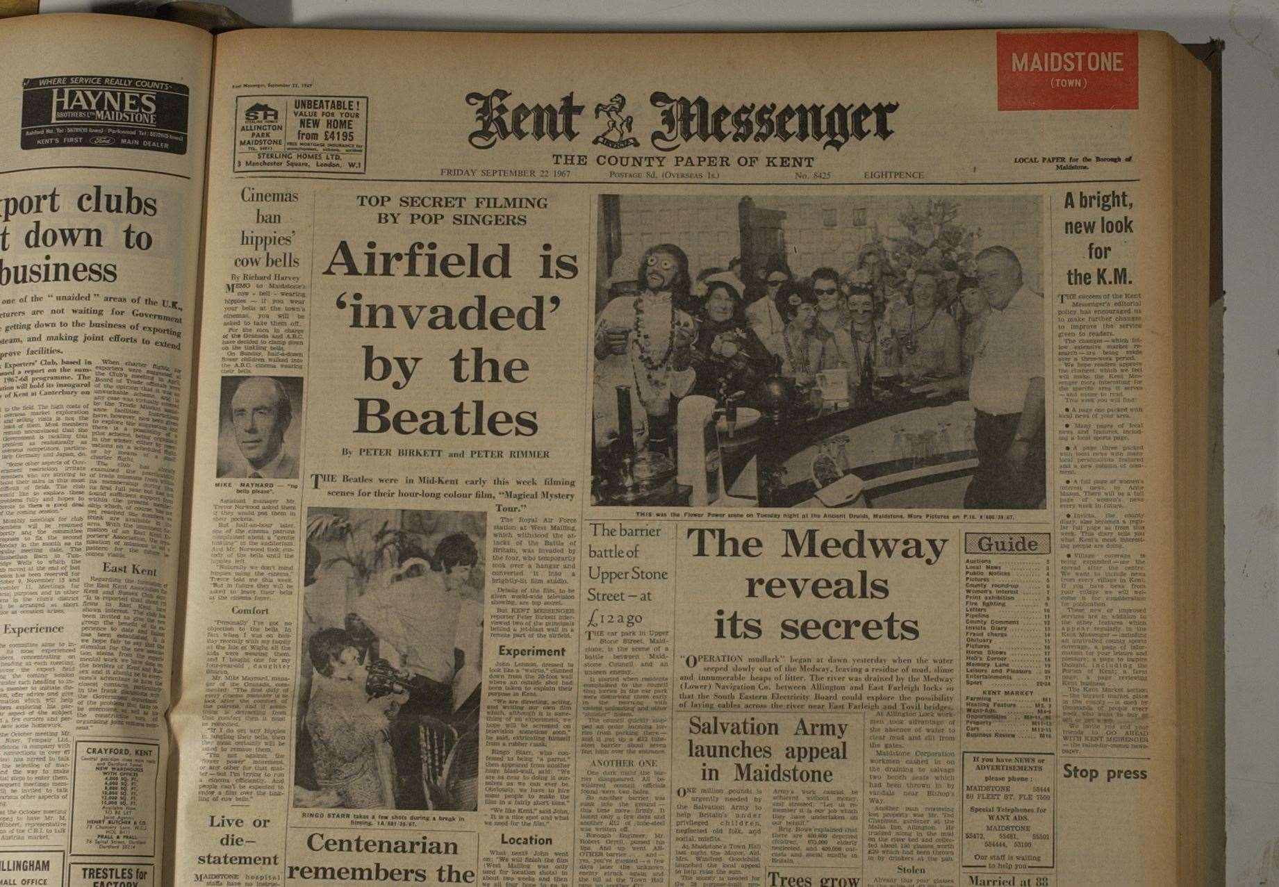 The front page of the Kent Messenger reports on the Beatles' arrival in West Malling in 1967